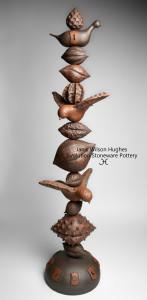 1a-Janis Wilson Hughes-Moonlight Migration Totem-38x10x10-Steel Rod Stoneware-Cone 6 Oxidation